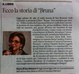 Il Tirreno annuncia l'uscita di Bruna. Una maialina per amica